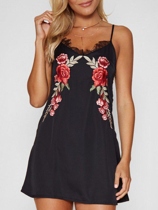 Chic Lace Panel Floral Embroidered Mini Dress