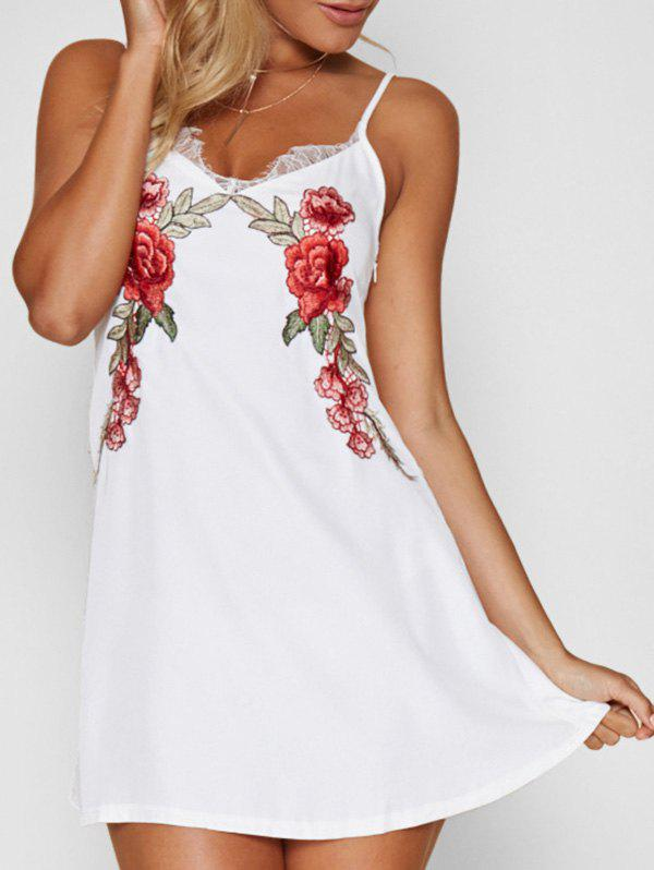 Fashion Lace Panel Floral Embroidered Mini Dress