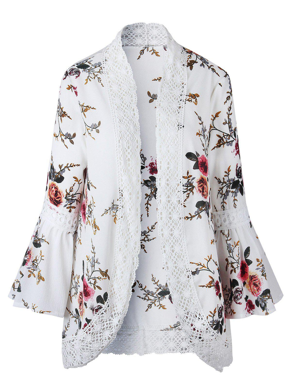 Outfits Flower Print Crochet Panel Bell Sleeve Cardigan