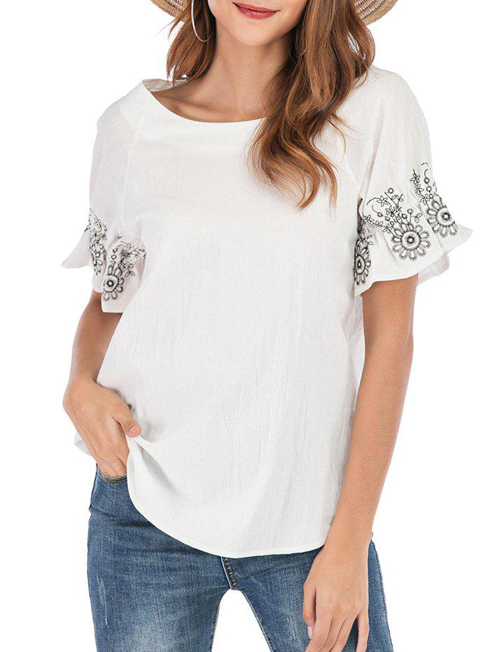 Unique Floral Embroidered Cuffs Raglan Sleeve Blouse