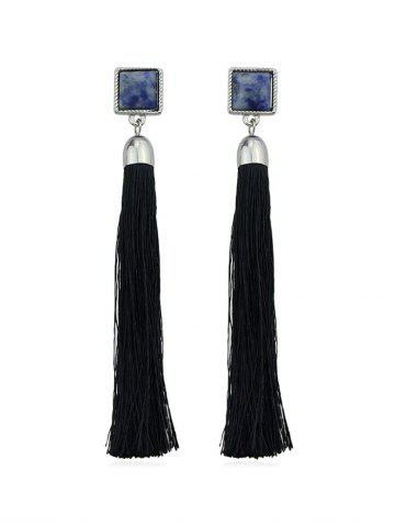 Square Marbling Tassel Dangle Earrings