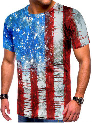 Retro Stripes Flag Print Short Sleeves T-shirt