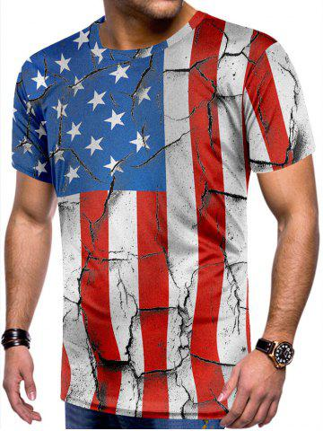 Retro Cracked American Flag Print Tee