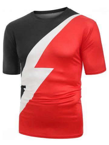 Color Block Lightning Graphic Tee