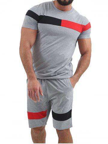 Color Block Panel T-shirt and Shorts Suits