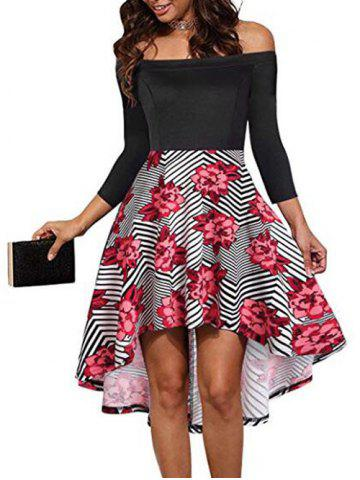 Asymmetric Off Shoulder Flower Striped Dress