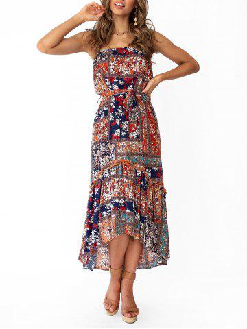 Flower High Low Tie Shoulder Maxi Dress