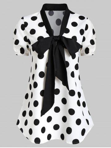 Polka Dot Bow Tie Casual Blouse