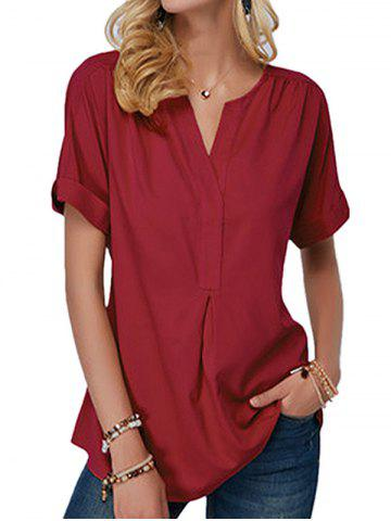 V Neck Rolled Sleeve Ruched Casual Blouse