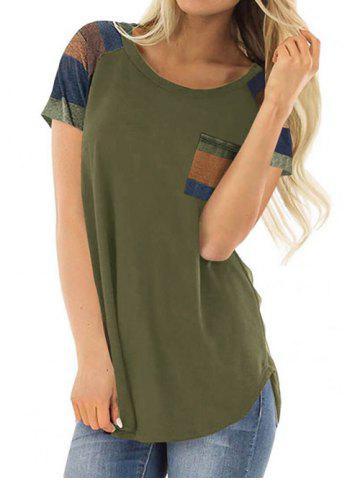 Color Block Chest Pocket Casual Tunic Tee