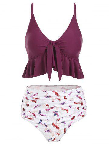 Feather Print Knot Ruched High Waisted Tankini Swimsuit