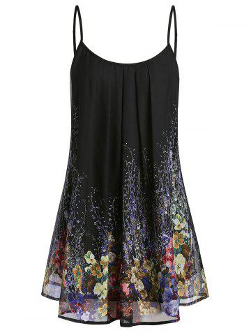 Plus Size Floral Print Pleated Cami Top