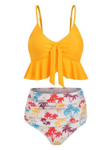 Knot Flounce Coconut Palm Ruched Tankini Swimsuit