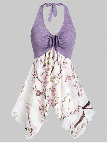 Asymmetric Flower Print Drawstring Halter Tank Top