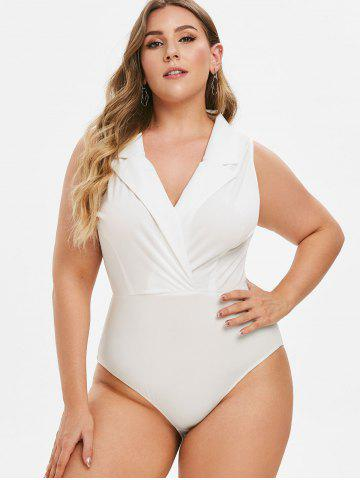 834824d7a5d Plus Size Bodysuit - Black, White And Lace Cheap With Free Shipping