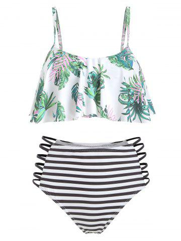 Leaf Print Flounce Striped Strappy Bikini Swimsuit