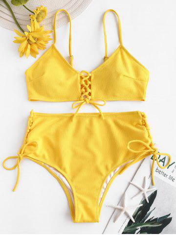 Ribbed Lace-up High Rise Bikini Swimsuit