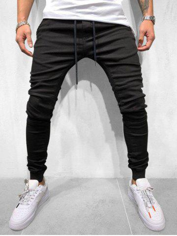 Solid Color Drawstring Casual Jeans
