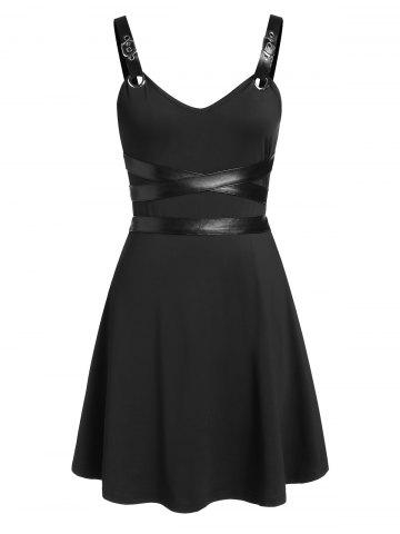 Faux Leather Insert Sleeveless Flare Dress