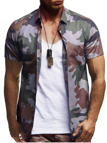 Camouflage Print Casual Short Sleeve Shirt