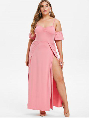 Plus Size Cold Shoulder Slit Maxi Prom Dress