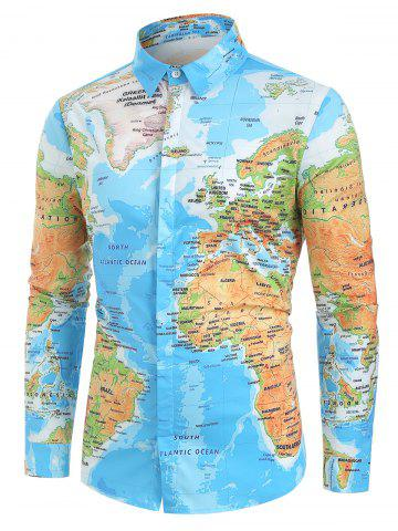 World Map Print Hidden Button Shirt