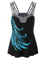 Chain Embellished Wing Printed Tank Top -