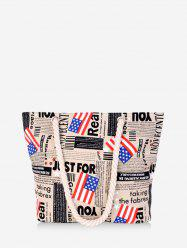 Canvas American Flag Graphic Shoulder Bag -