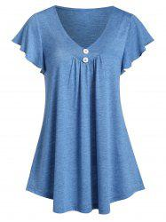 V Neck Buttoned Butterfly Sleeve Tee -
