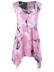 Scoop Neck Tie Dye Asymmetric Tank Top -