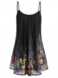 Plus Size Floral Print Pleated Cami Top -