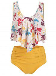 Flounce Coconut Palm Ruched Tankini Swimsuit -
