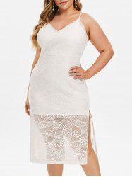 Plus Size High Slit Lace Bodycon Dress -