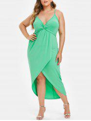 Plus Size High Low Twist Maxi Bodycon Dress -