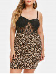 Plus Size Lace Insert Leopard Print Bodycon Dress -