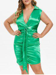 Plus Size Satin Surplice Plunge Tied Ruched Dress -