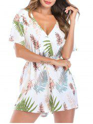 Leaf Print Low Cut Wide Leg Romper -