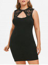 Plus Size Keyhole Sheer Lace Bodycon Dress -
