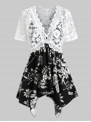 Plus Size Handkerchief Floral Cami With Lace Top Twinset -