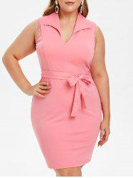 Plus Size Belted Knee Length Bodycon Dress -