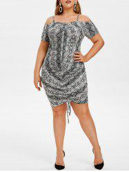 Plus Size Ruched Snakeskin Print Bodycon Dress -