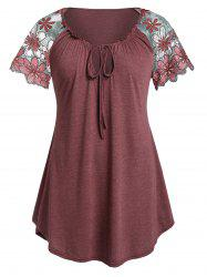 Plus Size Raglan Sleeve Lace Up T Shirt -