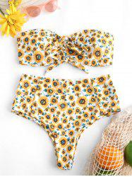 Sunflower Print Tie Front High Rise Bikini Swimsuit -
