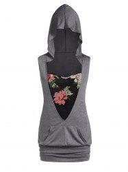 Plus Size Hooded Blouson Tank Top With Floral Cami Twinset -