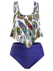 Plus Size Overlay Feather Print Ruched Tankini Swimsuit -