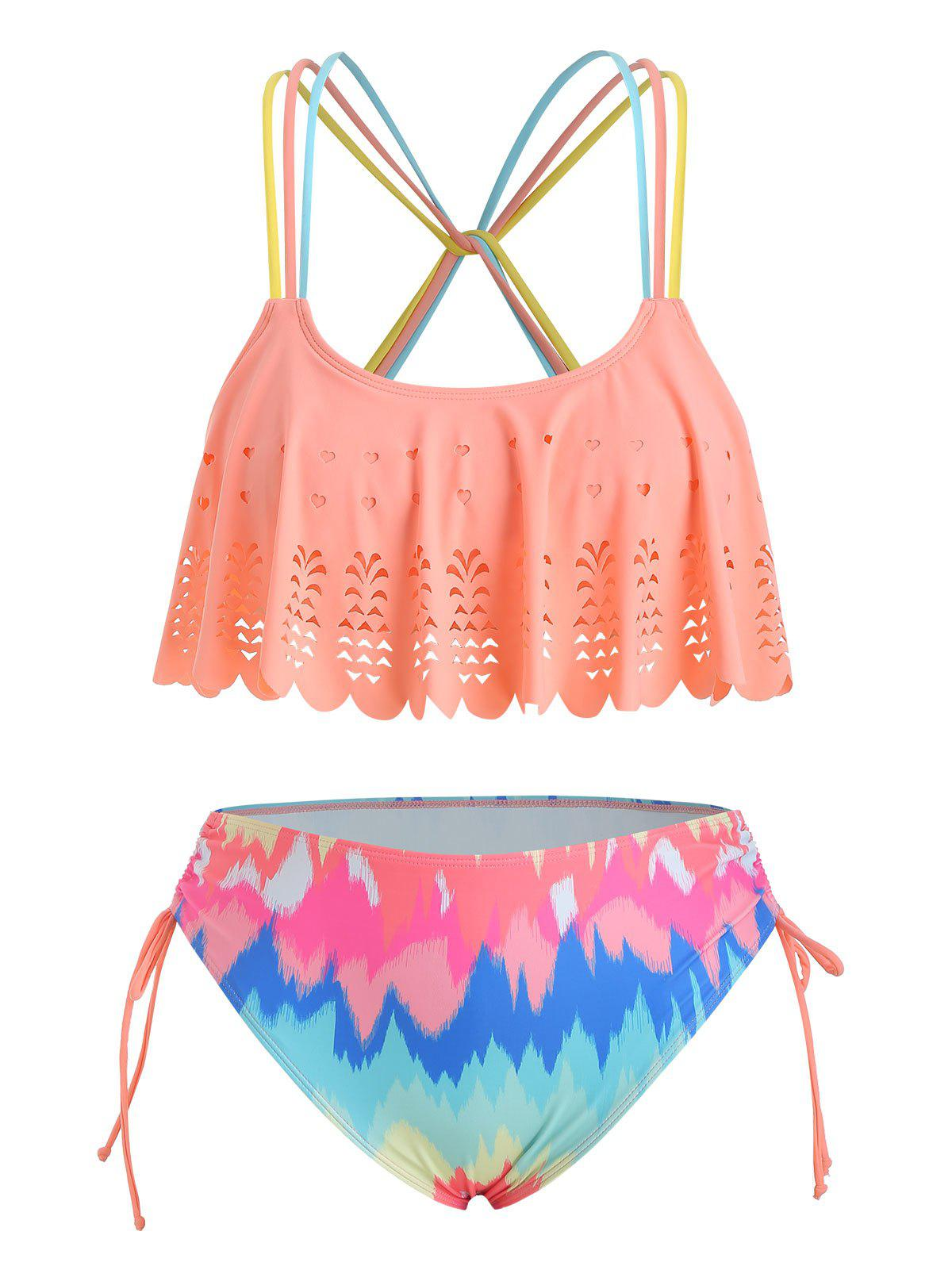 Affordable Plus Size Laser Cut Ruffled Tie Dye Bikini Swimsuit
