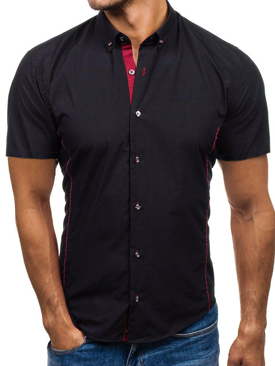 Trendy Contrast Trim Button Down Casual Shirt