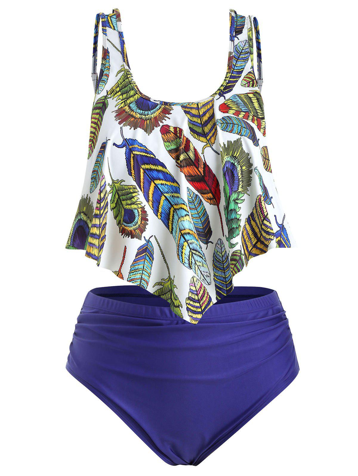 Fashion Plus Size Overlay Feather Print Ruched Tankini Swimsuit