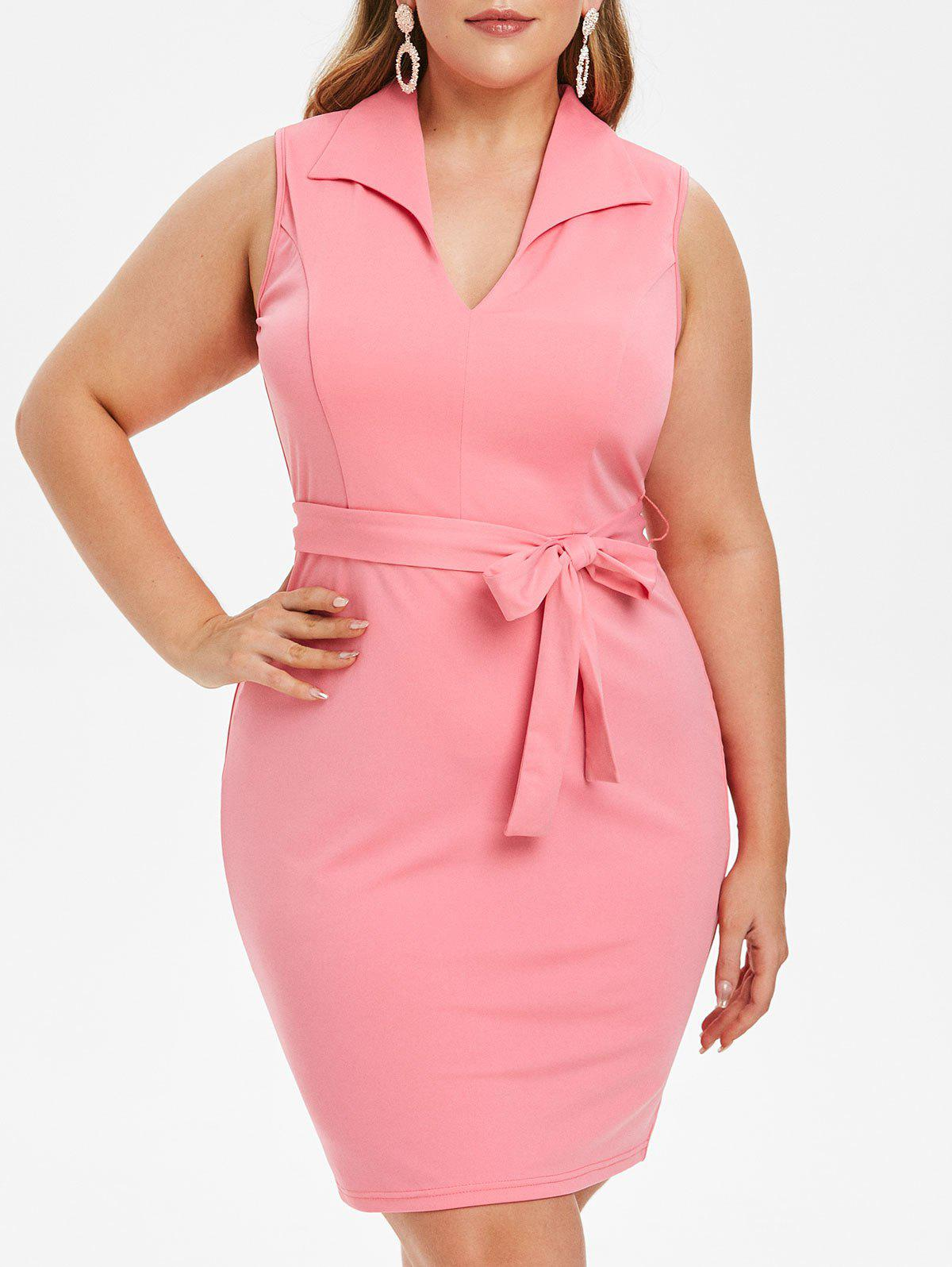 Plus Size Belted Knee Length Bodycon Dress