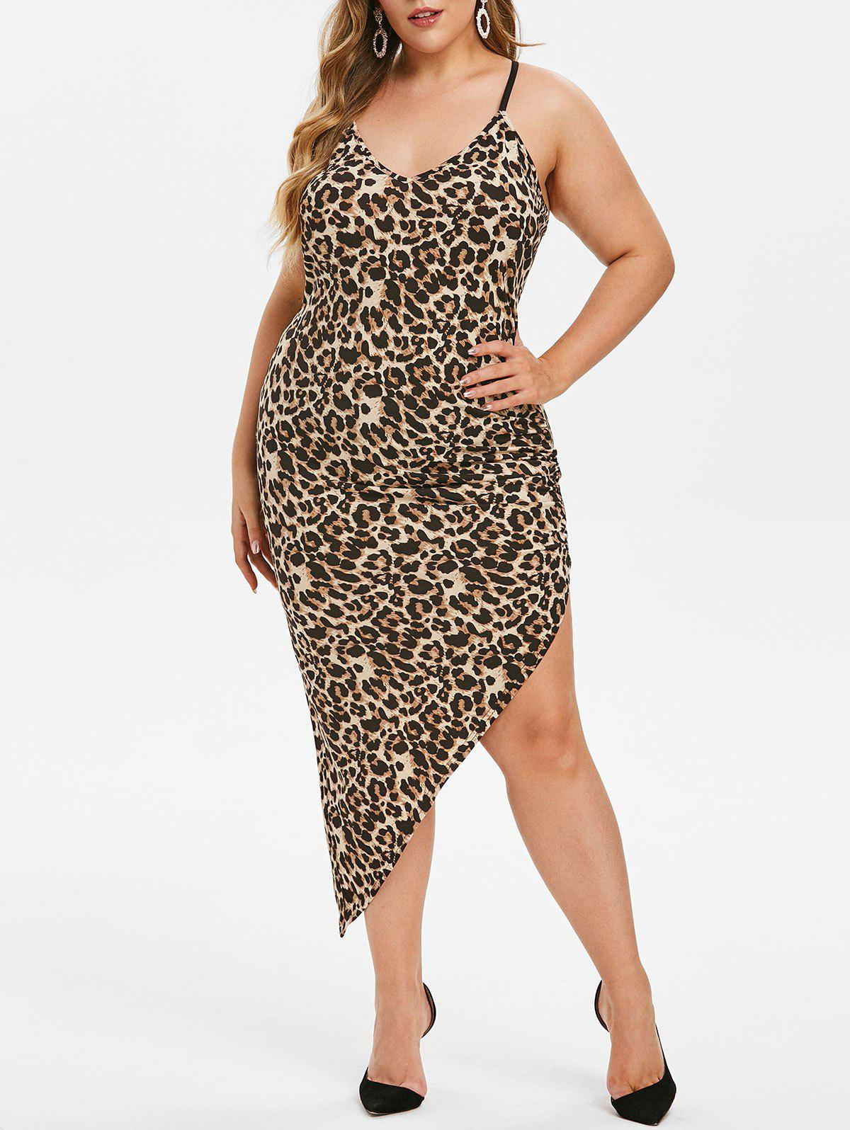 Outfit Plus Size Asymmetric Leopard Print Ruched Tight Dress